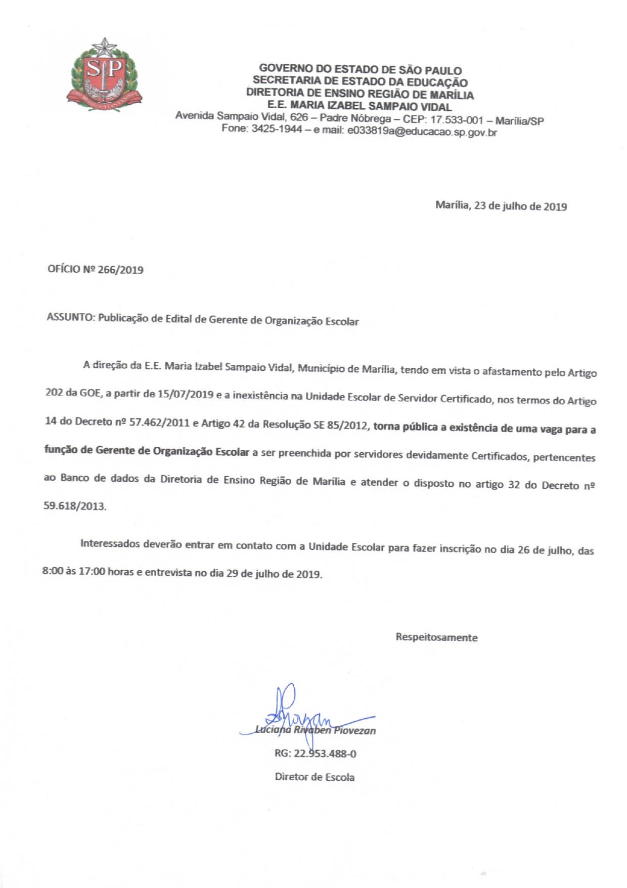 Edital de Gerente de Organização Escolar – EE Maria Izabel Sampaio